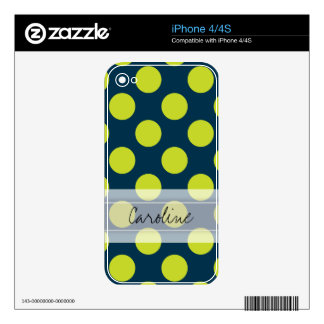 Monogram Navy Blue Green Chic Polka Dot Pattern Skins For iPhone 4S