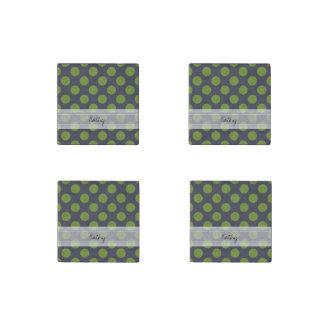 Monogram Navy Blue Green Chic Polka Dot Pattern Stone Magnet
