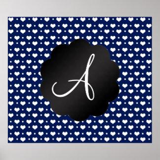 Monogram navy blue hearts polka dots poster