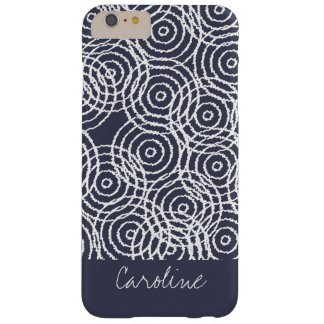 Monogram Navy Blue Ikat Circles Geometric Pattern Barely There iPhone 6 Plus Case