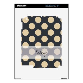 Monogram Navy Blue Ivory Chic Polka Dot Pattern Decals For iPad 2