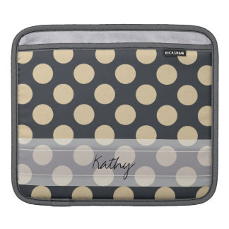 Monogram Navy Blue Ivory Chic Polka Dot Pattern Sleeves For iPads