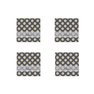 Monogram Navy Blue Ivory Chic Polka Dot Pattern Stone Magnet