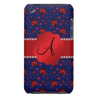 Monogram navy blue ladybugs hearts iPod touch case