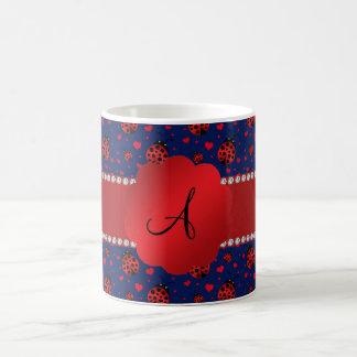 Monogram navy blue ladybugs hearts coffee mugs
