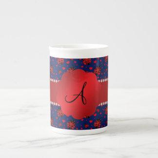 Monogram navy blue ladybugs hearts bone china mug