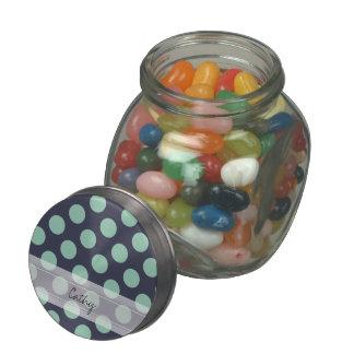 Monogram Navy Blue Mint Green Polka Dot Pattern Jelly Belly Candy Jar