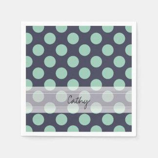 Monogram Navy Blue Mint Green Polka Dot Pattern Paper Napkin
