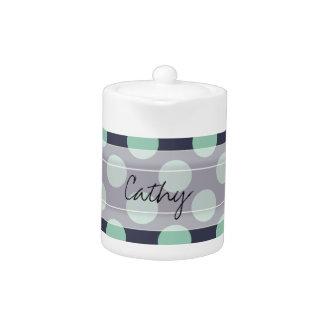 Monogram Navy Blue Mint Green Polka Dot Pattern Teapot