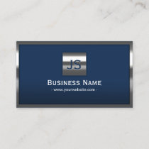 Monogram Navy Blue Modern Metal Frame Professional Business Card