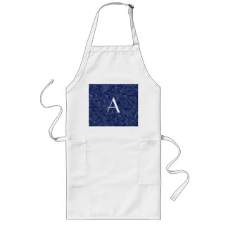 Monogram navy blue mosaic squares long apron
