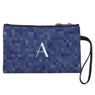 Monogram navy blue mosaic squares wristlets