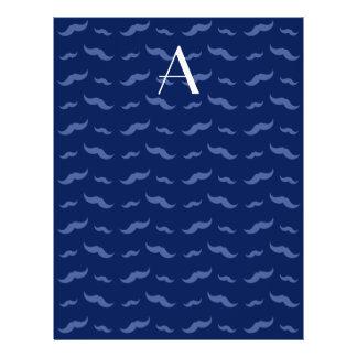 "Monogram navy blue mustache pattern 8.5"" x 11"" flyer"