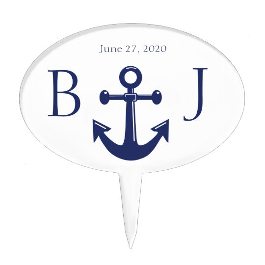 Monogram Navy Blue Nautical Wedding Cake Toppers