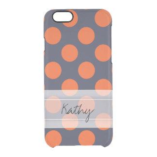 Monogram Navy Blue Orange Chic Polka Dot Pattern Clear iPhone 6/6S Case