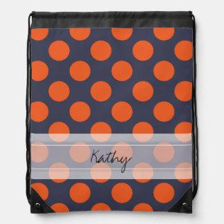 Monogram Navy Blue Orange Chic Polka Dot Pattern Drawstring Backpack