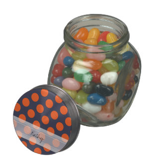 Monogram Navy Blue Orange Chic Polka Dot Pattern Glass Candy Jars