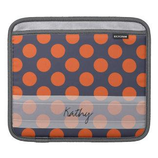 Monogram Navy Blue Orange Chic Polka Dot Pattern iPad Sleeve