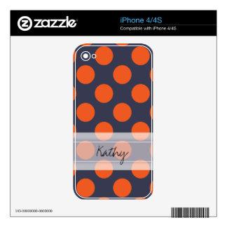 Monogram Navy Blue Orange Chic Polka Dot Pattern iPhone 4S Decals