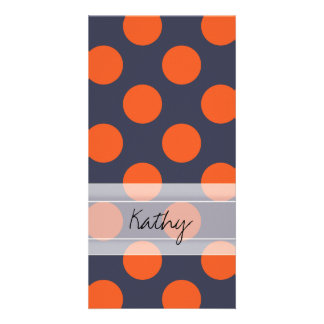 Monogram Navy Blue Orange Chic Polka Dot Pattern Photo Card