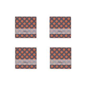 Monogram Navy Blue Orange Chic Polka Dot Pattern Stone Magnet