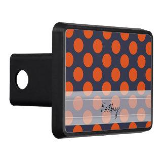 Monogram Navy Blue Orange Chic Polka Dot Pattern Tow Hitch Cover