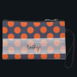 """Monogram Navy Blue Orange Chic Polka Dot Pattern Wristlet Wallet<br><div class=""""desc"""">Monogram Navy Blue Orange Chic Polka Dot Pattern. Trendy, fun, cute, girly, stylish, modern navy blue and orange polka dot pattern with orange polka dots against a navy blue background. The design includes a transparent white sash that can be customized with your monogram or name. Personalize it further by adding...</div>"""