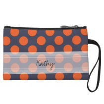 Monogram Navy Blue Orange Chic Polka Dot Pattern Wristlet Wallet