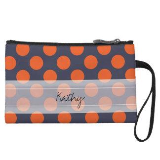Monogram Navy Blue Orange Chic Polka Dot Pattern Wristlet Wallet
