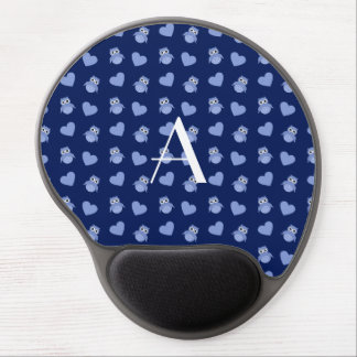 Monogram navy blue owls and hearts gel mousepad