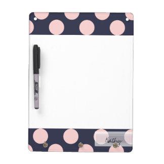 Monogram Navy Blue Pink Chic Polka Dot Pattern Dry-Erase Board