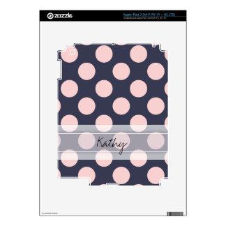 Monogram Navy Blue Pink Chic Polka Dot Pattern iPad 3 Skin