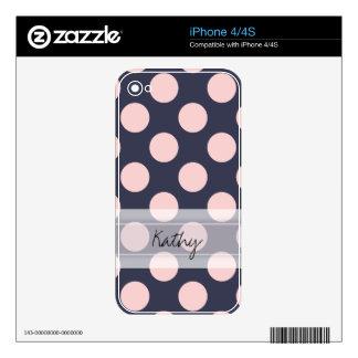 Monogram Navy Blue Pink Chic Polka Dot Pattern iPhone 4S Decal