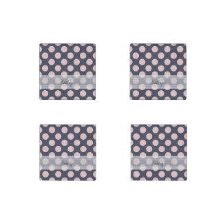 Monogram Navy Blue Pink Chic Polka Dot Pattern Stone Magnet