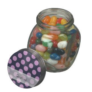 Monogram Navy Blue Purple Chic Polka Dot Pattern Glass Candy Jar