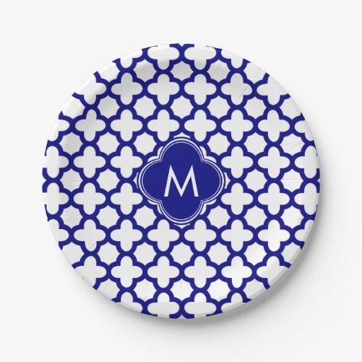 monogram navy blue quatrefoil pattern paper plate zazzle. Black Bedroom Furniture Sets. Home Design Ideas
