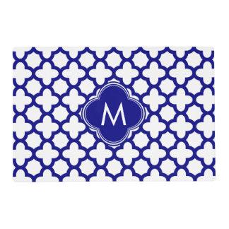 Monogram Navy Blue Quatrefoil Pattern Placemat