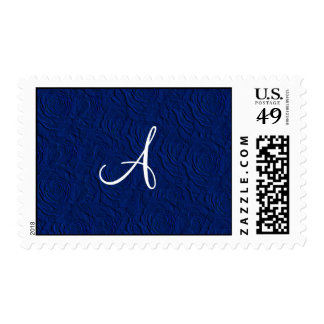 Monogram navy blue roses faux texture postage stamps