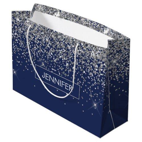 Monogram Navy Blue Silver Glam Glitter Large Gift Bag