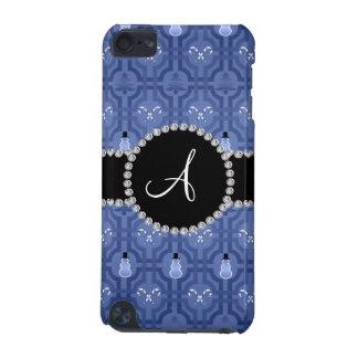 Monogram navy blue snowman trellis pattern iPod touch (5th generation) case