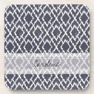 Monogram Navy Blue Tribal Ikat Diamond Pattern Beverage Coaster
