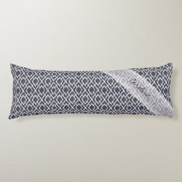 Aztec Themed Monogram Navy Blue Tribal Ikat Diamond Pattern Body Pillow