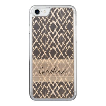 Aztec Themed Monogram Navy Blue Tribal Ikat Diamond Pattern Carved iPhone 8/7 Case