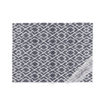 Aztec Themed Monogram Navy Blue Tribal Ikat Diamond Pattern Fleece Blanket