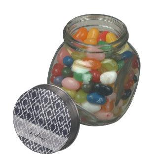 Monogram Navy Blue Tribal Ikat Diamond Pattern Glass Candy Jar