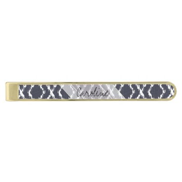 Aztec Themed Monogram Navy Blue Tribal Ikat Diamond Pattern Gold Finish Tie Bar