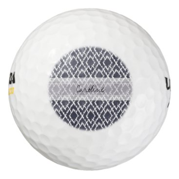 Aztec Themed Monogram Navy Blue Tribal Ikat Diamond Pattern Golf Balls