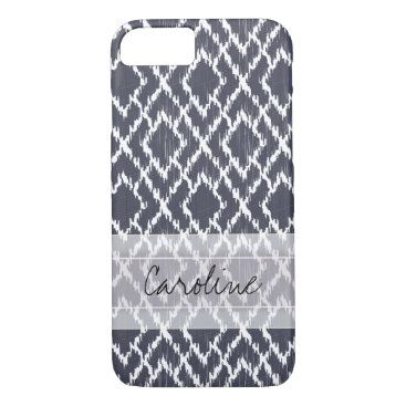 Aztec Themed Monogram Navy Blue Tribal Ikat Diamond Pattern iPhone 8/7 Case