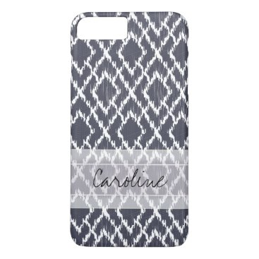 Aztec Themed Monogram Navy Blue Tribal Ikat Diamond Pattern iPhone 8 Plus/7 Plus Case