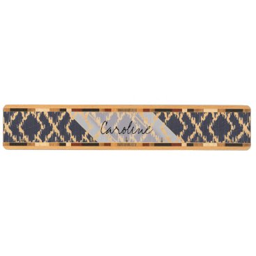 Aztec Themed Monogram Navy Blue Tribal Ikat Diamond Pattern Key Rack